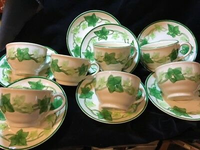 Set of 7 Vintage Franciscan Ivy Cups & Saucers TV Mark USA Excellent Condition