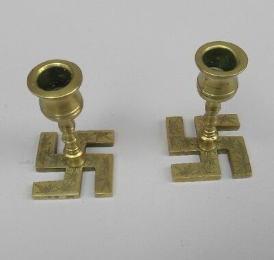 Unusual VNTG PAIR Brass American Indian SWASTIKA Religious Candle Holders