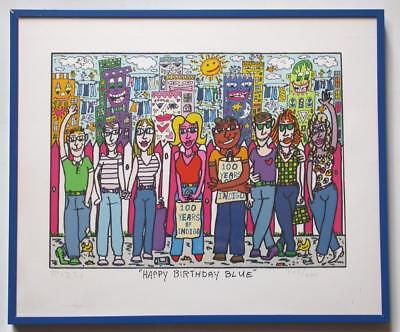 JAMES RIZZI Art Print-Happy Birthday Blue-SIGNED Numbered LIMITED 308/600 Framed