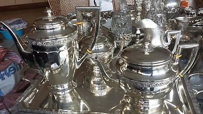 3127g sterling silver COLONIAL STYLE 5 PIECES TEA-COFFEE set: DIONISIO GARCIA HM