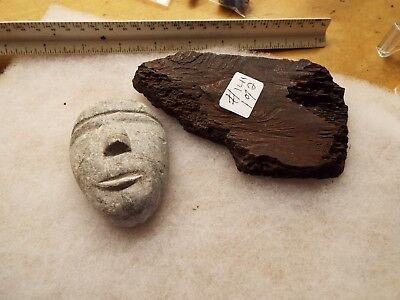 Native American Indian Eskmo Carved Stone Head And A Piece Of Petrified Bone