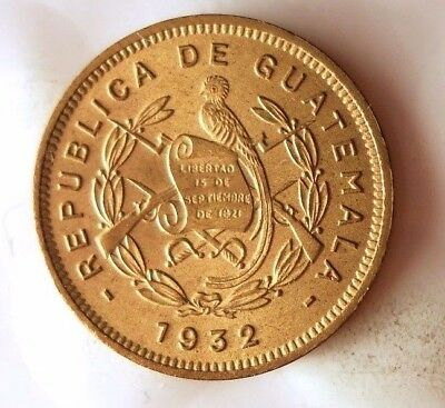 1932 (L) GUATEMALA 1/2 CENTAVO- AU - Very Hard to Find Coin - Lot #916