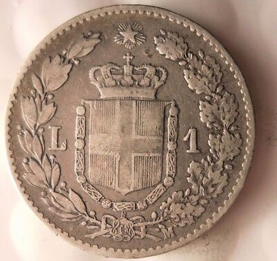 1887 ITALY LIRA - SCARCE - Excellent Vintage Silver Coin - Lot #916