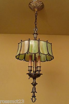 Vintage Lighting 1970s Hollywood Regency with green glass shade