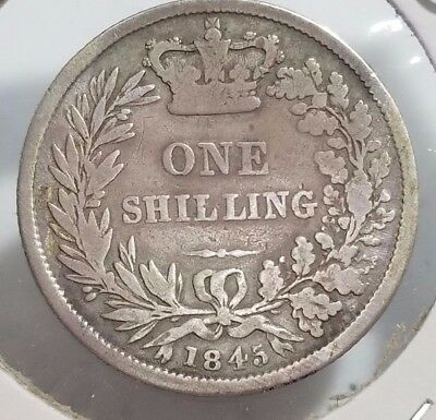 Great Britain 1845 One Shilling Sterling 92.5% Silver Good Details Coin - C53