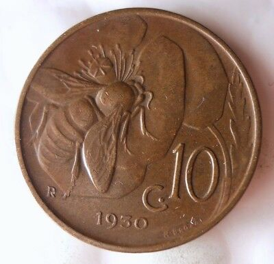 1930 ITALY 10 CENTESIMI - AU - Great Collectible Coin - Lot #916