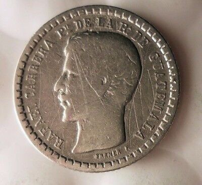 1862 GUATEMALA 1/2 REAL - Very Hard to Find Silver Coin - Lot #916
