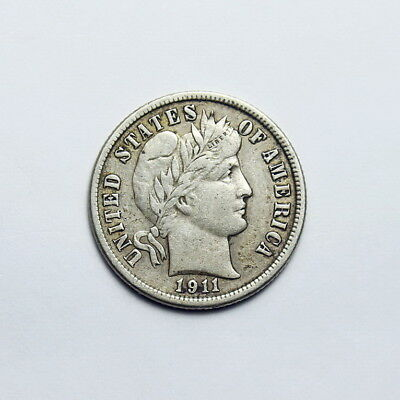 1911-D Barber Dime~Nice Very Fine With Full Sharp Liberty!