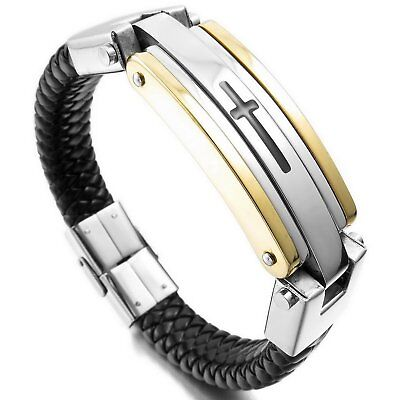 MENDINO Men's Stainless Steel Leather Bracelet Braided Cross Cuff Bangle Gold