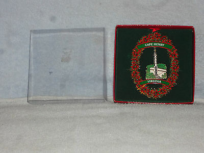Cape Henry Virginia Lighthouse Gold Tone Christmas Ornament in Box