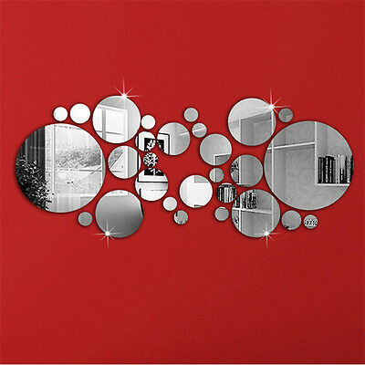 30PC Circles Mirror Silver Decal Art Mural Wall Sticker Home Decor DIY Removable