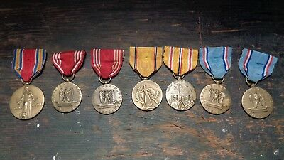 WWII vintage U.S. Army lot of 7 uniform service medals & ribbons