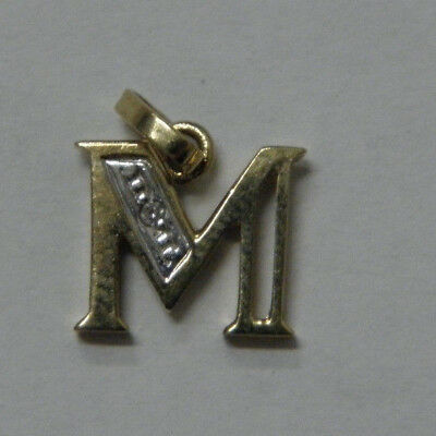 9ct/375 YELLOW SOLID GOLD GENUINE DIAMOND LETTER M PENDANT  rrp $245.00