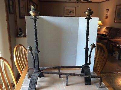 Antique Wrought Iron & Brass Andirons