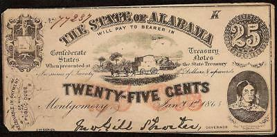 1863 STATE of ALABAMA 25 CENT NOTE OBSOLETE CURRENCY CONFEDERATE STATES TREASURY