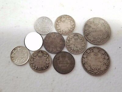 Lot of 9 Canada 5, 10 & 25 Cent Coins 1909 - 1920 Sterling Silver