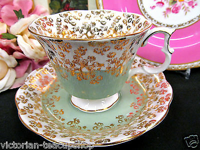 Royal Albert Tea Cup And Saucer Cascade Series Sage Green & Gold Gilt Teacup