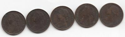 5 One Farthing Coins (1865, 1879, 2-1881, 1884)...99 cents opening...NR!