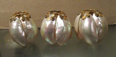 Set of 3 Small Gorgeous Victorian French Depose Pearl & Brass Lamp Shades