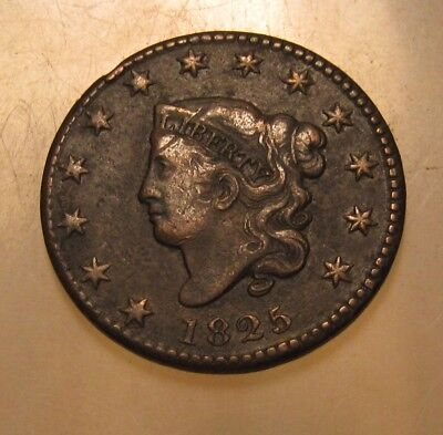 1825 Coronet Head Large Cent Penny - Very to Extra Fine Condition - 148SU-2