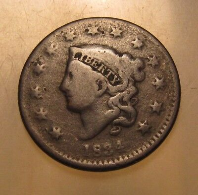 1834 Coronet Head Large Cent Penny - Circulated Condition - 153SU-2