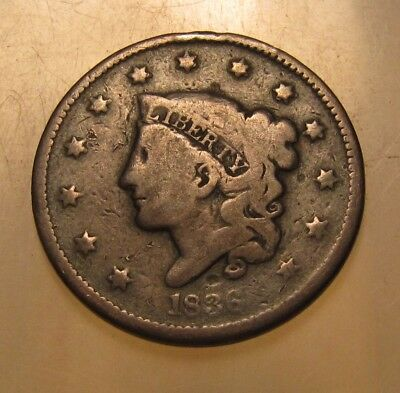 1836 Coronet Head Large Cent Penny - Circulated Condition - 154SU-2