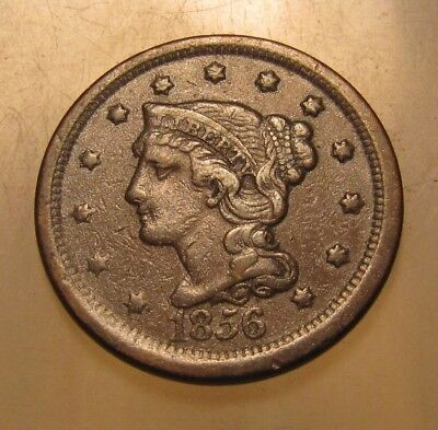 1856 Braided Hair Large Cent Penny - Extra Fine Condition - 164SU-2