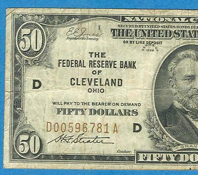 $50. 1929  Cleveland   Brown Seal Federal Reserve Bank Note Vf