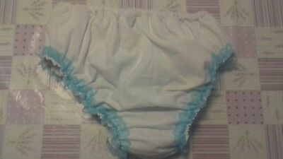 Adult baby waterproof white flannette design  pants lacy finish