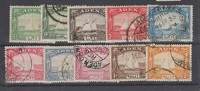 ADEN 1-10 Dhow set to 2rs. Used 1937