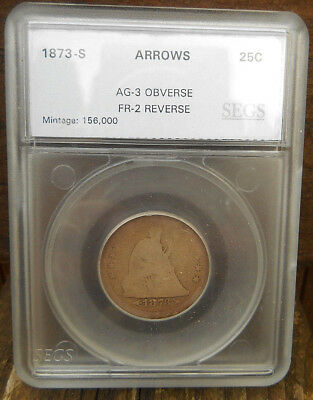 1873-S 25C Arrows Liberty Seated Quarter (rare)