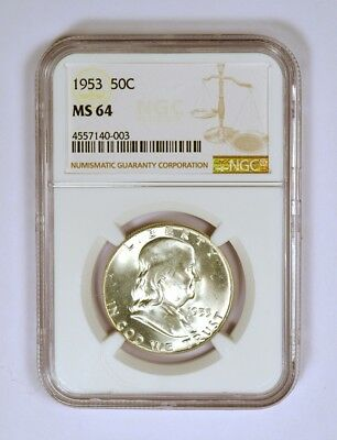 1953 Uncirculated Franklin Half Dollar graded MS64 by NGC