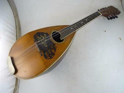Antique German Mandolin Guitar Vintage Inlay 1900s Old String Wood Victorian