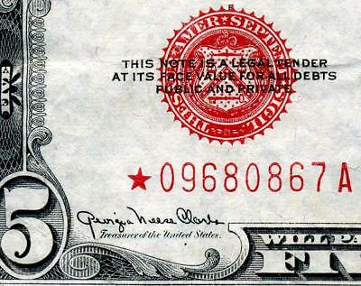 HGR 1928F $5 RED Seal ***Rare STAR*** AWESOME GRADE