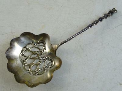 Antique Sterling Silver Olive Tomato Spoon Watson Whiting Square Twist Pattern