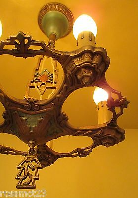 Vintage Lighting matched 1930s LaSalle set. One chandelier. Two sconces