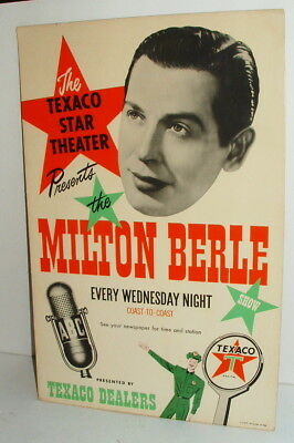 1948 Texaco Star Theatre Milton Berle Show Promo Sign  Awesome Condition
