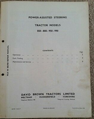 David Brown 850 880 950 990 Implematic Power Assisted Steering Service Manual