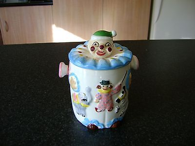 Vintage Retro Ceramic Clown Cookie Jar-Excellent Condition
