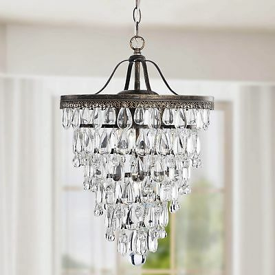 Conical 4-light Antique Brass Crystal Chandelier