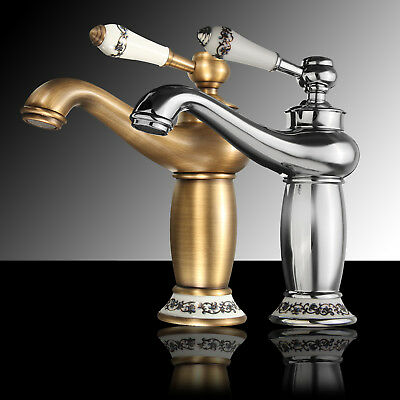 New Antique Bronze Retro Brass Waterfall Hot and Cold Mixer Taps Faucet Bathroom