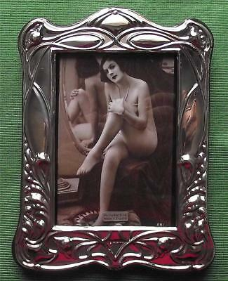 Big Art Nouveau Poppy London Hallmark English Silver Photo Frame Xmas Valentines
