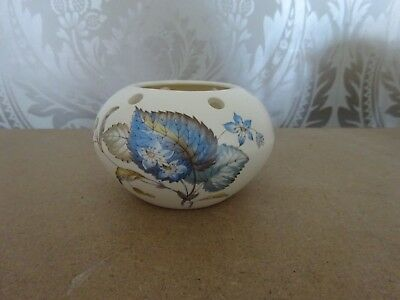 Axe Vale Pottery Devon Torquay Ware Blue Leaf Matt Finish Vase Pot Pourri Bowl