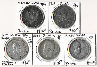 Five (5) Russia Silver Roubles (1818-1913) Attractive Lot Cv $1000+  No Reserve