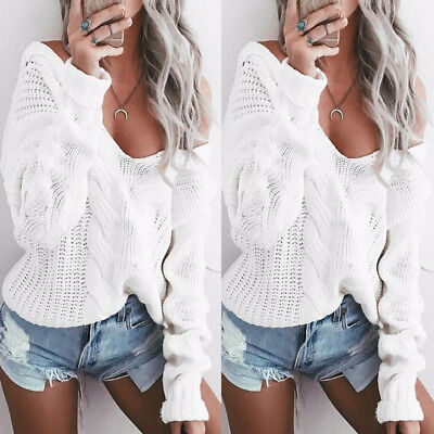 Winter Women Sexy V Neck Twisted Knitwear Jumper Warm Loose Sweater Pullover Top