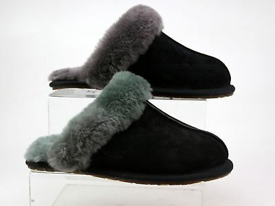 Womens Genuine Ugg Black Suede Slip On Warm Casual Comfy Slippers Size 3.5 Faded