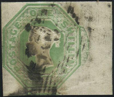 SG 54 Embossed 1/- pale green, used right marginal(some staining) example with c