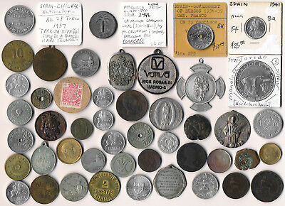47 Old Spain Coins Medals & Tokens (Exceptional Odd Lot Must See) No Reserve