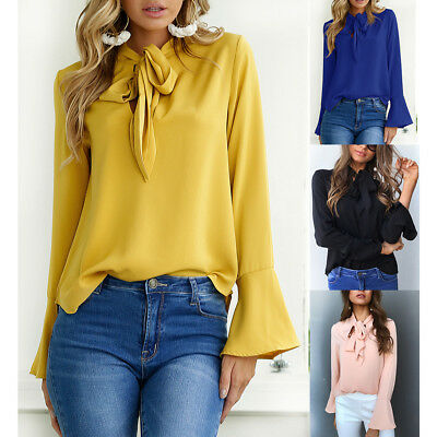 US Ladies Fashion Casual Tops T-Shirt Women Summer Loose Top Long Sleeve Blouse
