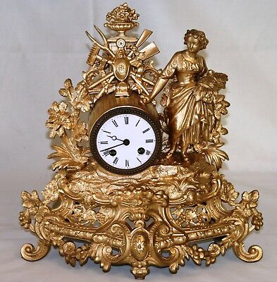 Antique French Ormolu Clock Japy Freres Movement in Good Working Order c1860/80